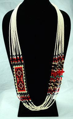 New Mexico Bead & Fetish - Navajo Rug necklace - Seed beads, Turquoise, Coral, Gold Lipped shell, Jet - Barbara Philips - $110.00