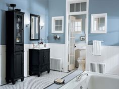 slate+blue+and+white+bathrooms | Home Bath vanity home depot Neutral Blue WHite Bathroom Design with ...