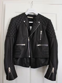 check out 17c13 f0b2c Balenciaga Motorcycle Moto Quilted Black Leather Jacket Size 40