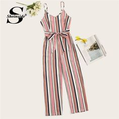 Striped Belted Wide Leg Cami Jumpsuit Women Spaghetti Strap Clothes Summer Sleeveless Ladies Jumpsuits Size S Color Multi Cute Girl Outfits, Cute Summer Outfits, Cute Casual Outfits, Pretty Outfits, Stylish Outfits, Girls Fashion Clothes, Teen Fashion Outfits, Cute Fashion, Outfits For Teens