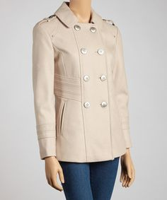 Take a look at this Flax Wool-Blend Coat - Petite by Kenneth Cole on #zulily today!