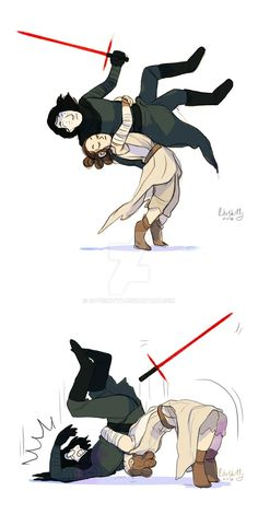 "My ideal episode ix involves this being the only form of ""reylo"" Bd Star Wars, Star Wars Fan Art, Star Trek, Kylo Rey, Kylo Ren Scar, Reylo, Starwars, Fanart, Funny"