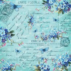 Blue Collage Sheet  Vintage Flowers  от blossompaperart на Etsy