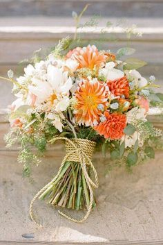 Image result for bouquet aster, cornflower, orange gerbrer