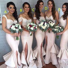 Long Bridesmaid Dress,Charming Cheap Bridesmaid Dress,Split Bridesmaid