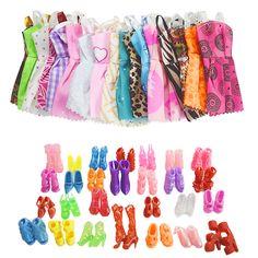Neue 10 STÜCKE Mix Sortieren Schöne Party Barbie Puppe Kleidung Mode kleid + 10 Para Zubehör Schuhe Für Barbie Puppe Beste Geschenk spielzeug