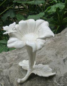 Cast Iron Flower Shape Bird Feeder For Garden 2 Color, Metal Stand Bowl Birdbath Bird Bath Antique White Rustic Free Shipping