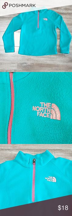 The North Face 1/4 zip fleece pullover Beautiful, bright teal & orange soft fitted fleece. The North Face embroidery is as bright as the zipper,  it just doesn't show up in pictures. Size XS 6. The tag has my child's name on it, so it will be marked out on the tag before ship it The North Face Jackets & Coats