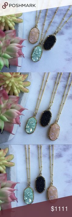 Druzy Necklaces  »»✼ HOLIDAY SPECIAL ✼«« ✼HOLIDAY SPECIAL✼  peach, black, and mint dyed druzy quartz pendants on 18k gold plated chains · handmade in El Paso, TX  ○ 1 for $30 // 2 for $45 ○ comes packaged in cotton filled jewelry boxes  ◇─◇ FREE SHIPPING // use the add to bundle feature ◇─◇ Simple Sanctuary Jewelry Necklaces