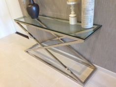 Modern  Stainless Steel Glass Console Table Hall Table-X Series