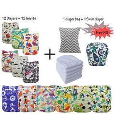 12 Pack Cloth Diapers + 12 Microfibre Inserts Best Cloth Diapers, Free Diapers, Baby Skin, Free Gifts, Diaper Bag, Packing, Cute, Bags, Clothes