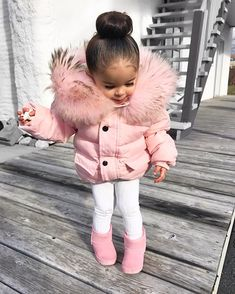 pink overload 🐷 use boots - legging - coat I changed the fur (recycled fur) ___ pink Cute Little Girls Outfits, Toddler Girl Outfits, Baby Outfits, Winter Baby Clothes, Baby Winter, Cute Baby Clothes, Baby Girl Fashion, Toddler Fashion, Kids Fashion