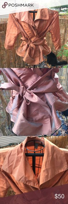 Serenade New York bronze wrap tie jacket Perfect condition! Slightly metallic bronze or burnt orange color. Super pretty and flattering. Serenade New York Jackets & Coats