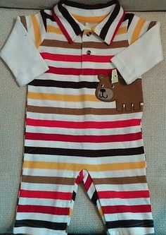 Little Wonders Colorful Striped Collared One Piece 0 to 3 mo Baby Boy Clothing #littlewonders #babyboy #easter