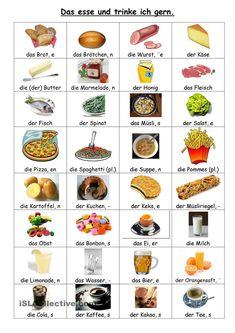 Essen und Trinken - Comida y bebida German Grammar, German Words, Learn German, Learn French, German Resources, Deutsch Language, Germany Language, German Language Learning, Croatian Recipes