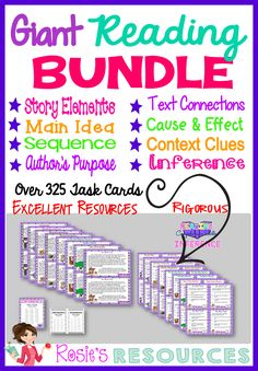 This reading comprehension bundle contains over 325 task cards and story cards…