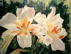 pictura ulei/panza, 45cm/35cm, 2015 Oil On Canvas, Lily, Plants, Painting, Art, Craft Art, Painting Art, Kunst, Lilies