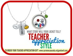 Origami Owl Teacher Appreciation gifts  Check out our jewelry for great thank you gifts to your children's teachers. #teacher #origamiowl #jewelry #books   www.carmensauceda.origamiowl.com