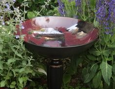 Red and Black Upcyled Bird Bath Bird Feeder OOAK by UpcycledStuff, $38.00