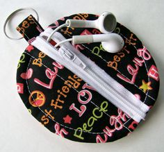 Black Love Peace Earbud Pouch by Wiconnie on Etsy, $4.99