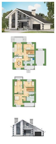 Two Story House Plans with mansard and garage, classic House Blueprints, House Expert Two Story House Plans, House Layout Plans, Dream House Plans, Modern House Plans, House Layouts, House Floor Plans, House With Porch, My House, House Blueprints