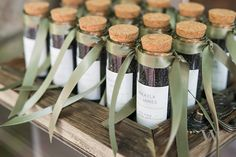 Product Spotlight: Top Ten Summer Wedding Favors [This mini glass bottle is one of the sweetest containers around and a clean slate that can be filled with whatever little lovely fits your wedding theme. Give it a summery feel with a single stem of one of your wedding flowers or fill with planting seeds for your guests to grow their own little garden.]