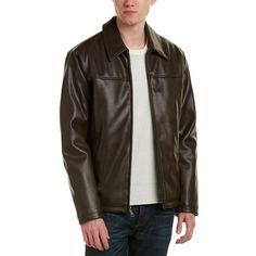 Cole Haan Signature Jacket (375 BRL) ❤ liked on Polyvore featuring men's fashion, men's clothing, men's outerwear, men's jackets, dark brown, cole haan mens jacket, mens leopard print jacket, mens zipper jacket, mens dark brown leather jacket and mens zip jacket