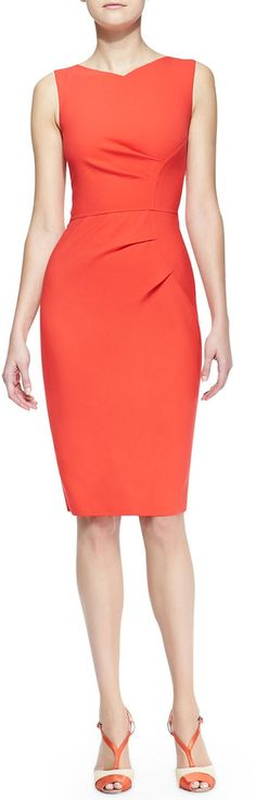 Carolina Herrera citrus orange sleeveless side-panel ruched sheath dress via myLusciousLife.com