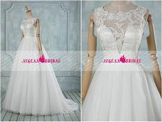 RW289 Dentelle mariage robe boule robe robe de mariée gonflés Illusion cou robe de mariée Long mariage robe avec balayage Train été