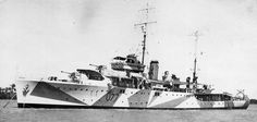 HMAS Yarra (a Grimsby class sloop of the Royal Australian Navy, launched in 1935 and sunk by Japanese cruisers in British Marine, Dazzle Camouflage, Royal Australian Navy, Camo Patterns, Military Photos, Razzle Dazzle, Armada, Navy Ships, Battleship