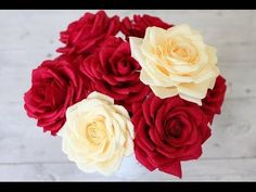 How to make tissue paper rose flower with wrapping method / Valentine's day craft - YouTube