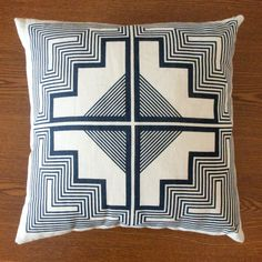 16x16 - native quilt pillow - indigo blue as seen in the salon next to the beverage bar.