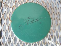 Vintage 50s Round Gold Tone Green Engraved Ann Powder Compact Elgin American