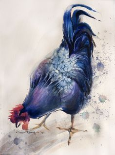 black rooster #1 watercolor on paper 28*38 sm arches 300