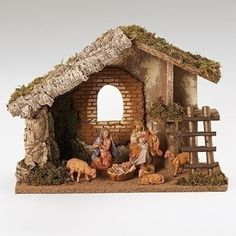 Fontanini 6 Piece Italian Christmas Nativity Set with Wooden Stable 54421 Italy * Visit the image link more details. (This is an affiliate link) Primitive Christmas, Christmas Nativity Set, Christmas Village Display, Beaded Christmas Ornaments, Christmas Figurines, Felt Ornaments, Christmas Cave, Christmas Crib Ideas, Christmas Items
