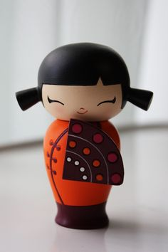 Shyly Smiling Kokeshi Doll. Presents for daughter this morning.
