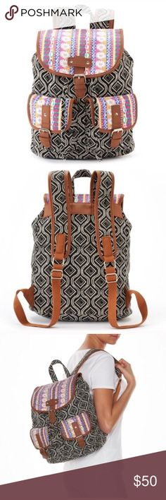 Tribal backpack purse Product Details Showcase your eclectic style with this mixed-media backpack. In black, multi.  PRODUCT FEATURES Mixed-media design PRODUCT DETAILS 15''H x 11''W x 6.25''D Top handle: 3.5'' Handle & adjustable straps Drawstring & magnetic snap closures Exterior: 2 pockets Interior: zip pocket Canvas coachella edc festival Bags