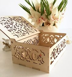 Decorative wooden gift box with laser cut floral ornaments May be used as a jewelry box, small storage box, sewing box, spice or recipe box, keepsake box, memory box, trinket box Made of apple plywood and hand painted. Available in two colors - white or natural applewood color. Dimensions: Width: 5,1 inches, Length: 7 inches Depth: 2,7 inches, Thickness: 3mm