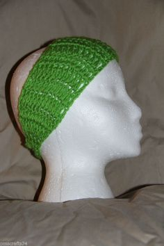 Unisex Teen/Adult headband earwarmer - fits most - Bright GREEN #homemade #earwamerheadband #smokefree #petfree #pmscrafts74