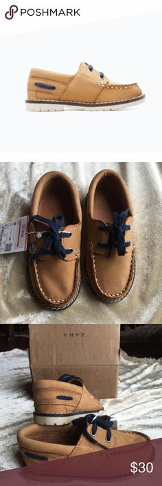 Zara boy leather dockside shoes. NIB Sz.6.5 Too small for my boy.😩😟 love these . Super cute leather shoes. Dark navy lace ups. In original box . Zara Shoes Dress Shoes