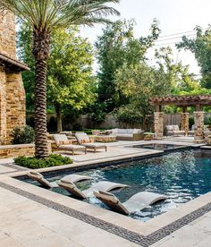 67 a unique backyard was designed for this home, with a variety of seating areas 2019 page 18 Backyard Pool Designs, Small Backyard Pools, Swimming Pools Backyard, Swimming Pool Designs, Pool Landscaping, Backyard Patio, Pool Remodel, Modern Pools, Dream Pools