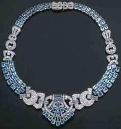 Platinum, Diamond & Aquamarine Necklace by LaCloche Freres, 1930