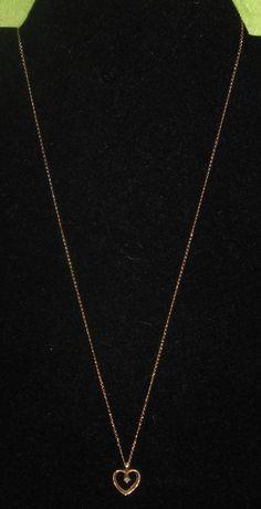 "Fine 14 Kt Gold Open Heart 18"" Necklace with Diamond Inside Vintage 1.5 Grams #ChainPendant"