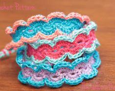 Crochet Bracelet Pattern, Crochet Jewelry Tutorial, Boho Crochet Pattern, Crochet Cuff Pattern- Ruffles and Lace
