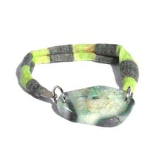 Friendship fabric bracelet with green mint agate one of a kind - Bfriends collection - FREE SHIPPING