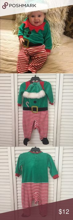 Holiday Creations Elf Costume Size 6-9 months. Two pieces; onesie and hat. Great for the holidays. Has a small stain on hat, not noticeable and could possibly be taken out (shown in 2nd picture). Onsie is like new. *Not Disney. I have many costumes on my page. I do bundles! I am selling this on ♏️ercari for $9 with $4 shipping. #holiday #christmas #christmasoutfit #elfcostume #babycostume Disney Costumes Seasonal