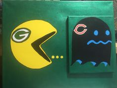 Green Bay Packers Pac-Man.  I  painted on 16x20 canvas with Chicago Bears on 8x10