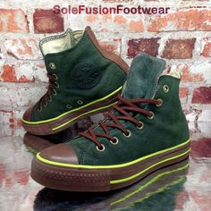 d8c774a24058 Converse Womens All Star Leather Trainers Green Brown sz 5.5 Mens VTG US 7.5  38b
