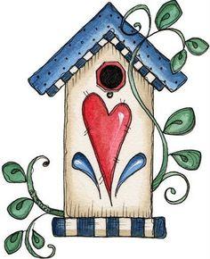 Desenhos Para Pinturas e Decoupage: Casa de passarinho