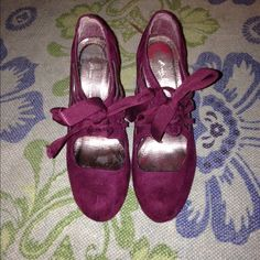 Anne Michelle suede feel lace up pumps berry 6.5 Lace up, great condition. Anne Michelle Shoes Heels